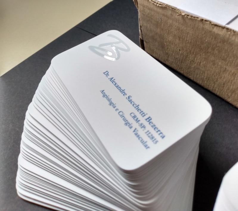 Gráfica Impressão Cartão de Visita Cotar Lindóia - Cartão de Visita Impressão com Relevo